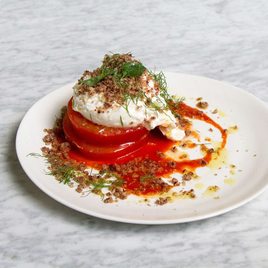 Beefsteak Tomato and Burrata Salad with Olive Streusel