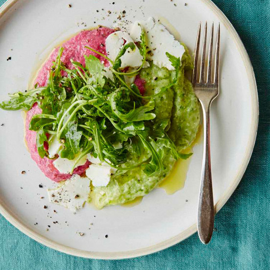 Beet-and-Chard Polenta with Ricotta Salata