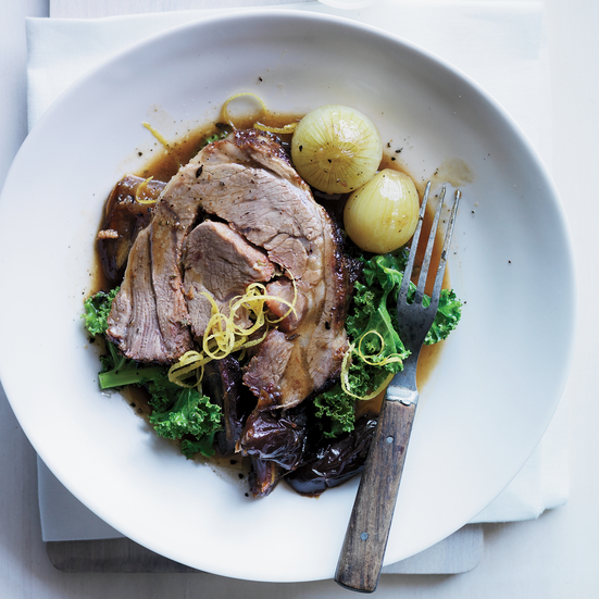 Lamb with dates, kale and almonds.