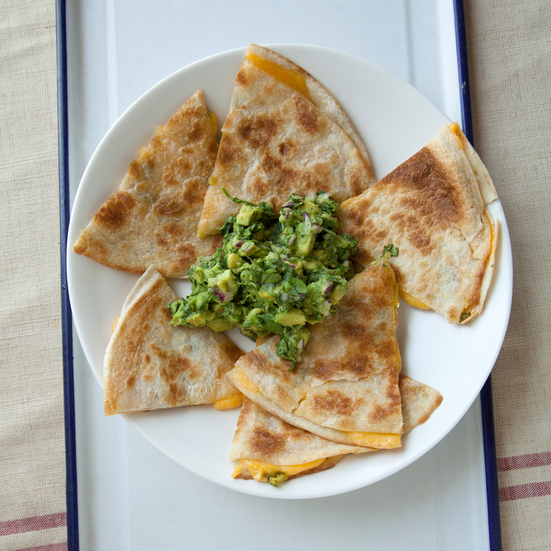 Charred Serrano Cheddar Quesadillas