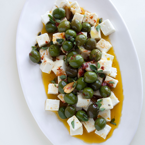 Roasted Castelvetrano Olive and Feta Salad