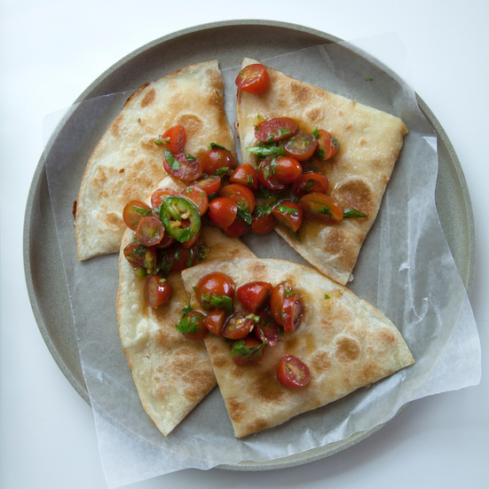 Three-Cheese Quesadillas with Brown Butter-Spiked Tomato Salsa