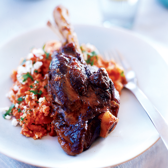 Braised Lamb Shanks with Trahana Pasta and Ricotta Salata