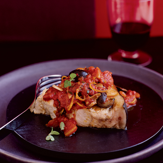 Braised Swordfish with Black Olives, Tomatoes and Marjoram