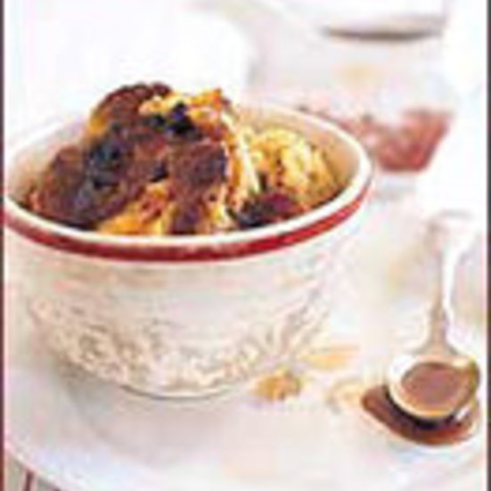 Pumpkin Bread Pudding with Caramel Rum Raisin Sauce