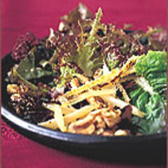 Miso-Glazed Burdock with Red Lettuces