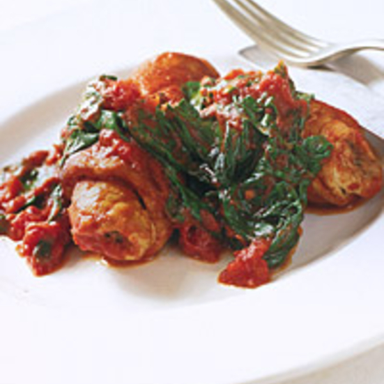 Caper-Stuffed Veal with Tomato Spinach Sauce