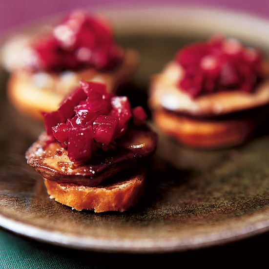 Chicken Liver Crostini with Beet Salsa