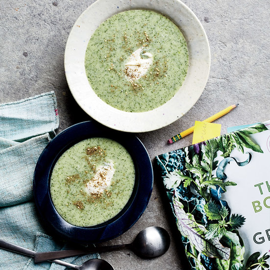 Chilled Watercress Soup with Crème Fraîche and Za'atar