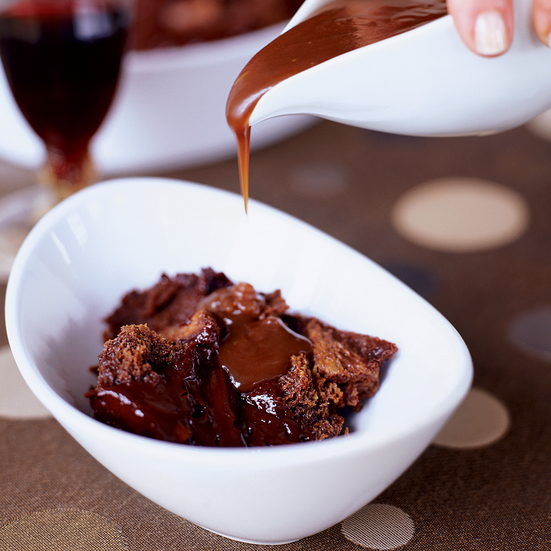 Chocolate Ganache Bread Pudding