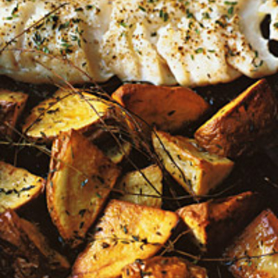 Roasted Cod and Potatoes with Thyme