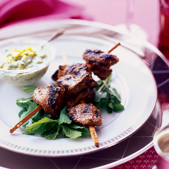 Cumin Lamb Kebabs with Fresh Mango Chutney