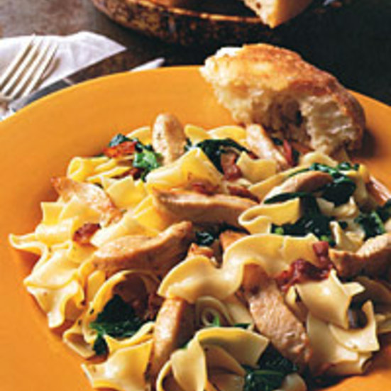 Egg Noodles with Turkey, Bacon, and Rosemary