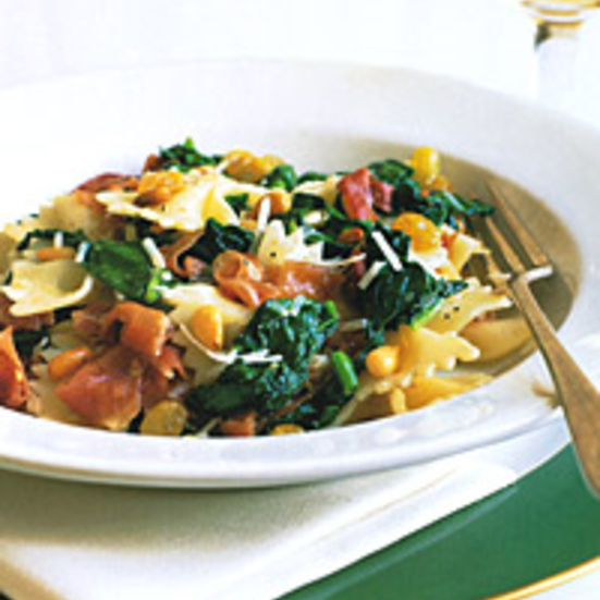 Farfalle with Prosciutto, Spinach, Pine Nuts, and Raisins