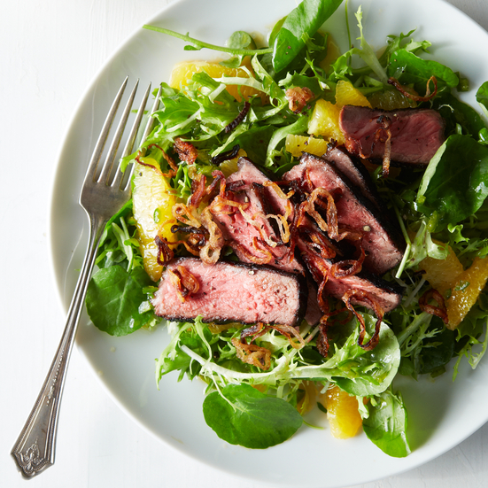 Fiery Grilled Beef Salad with Oranges and Crispy Shallots