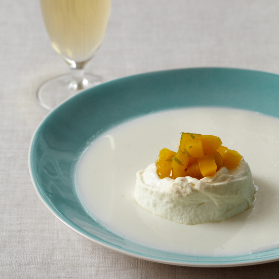 Floating Island with Coconut Milk and Mango Chutney