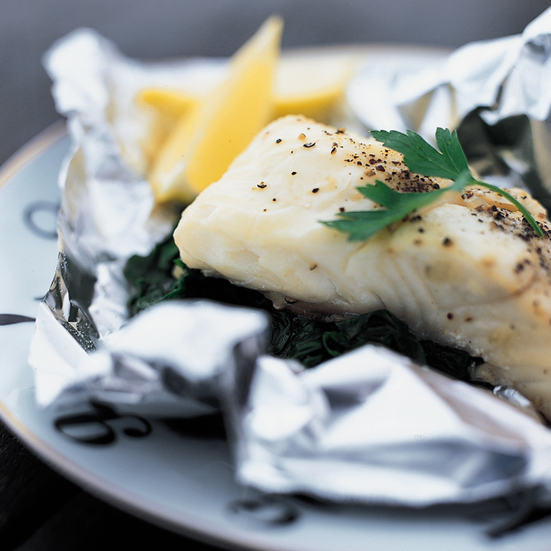 Foil-Baked Sea Bass with Spinach