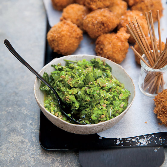 Freekeh Fritters with Spring Pea Relish