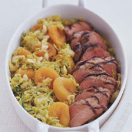Grilled Pork with Curried Apricots and Napa Cabbage