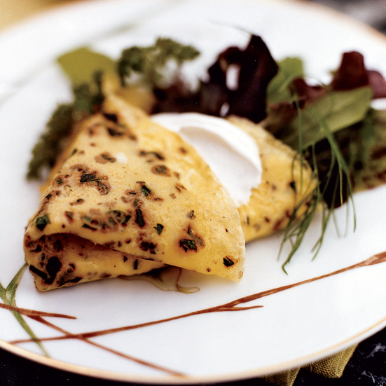 Herbed Egg Crêpes Filled with Smoked Salmon