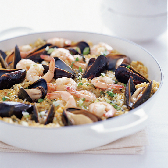 Seafood Paella with Spinach and Arugula