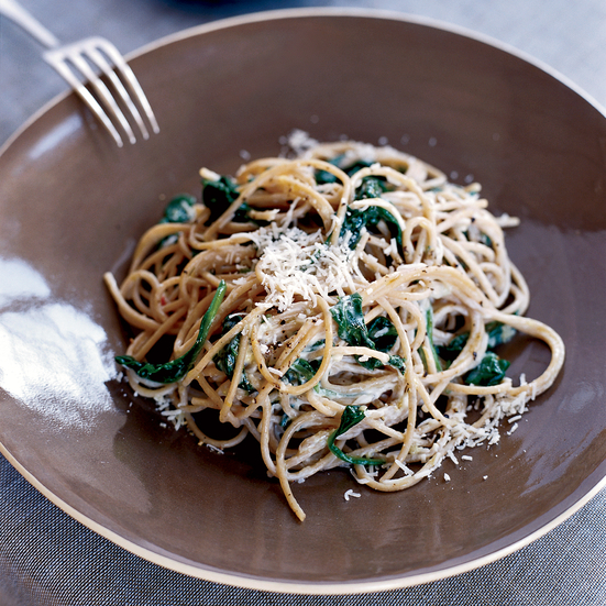 Spaghetti with Lemon, Chile and Creamy Spinach