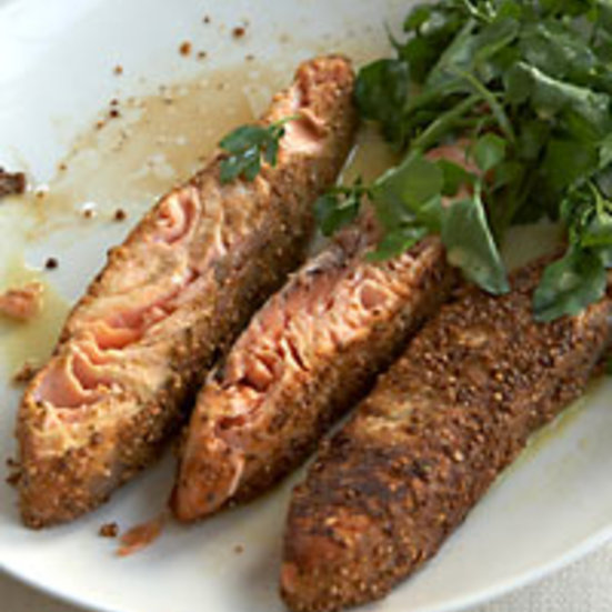Mustard-and Coriander-Crusted Salmon with Watercress & Parsley Salad