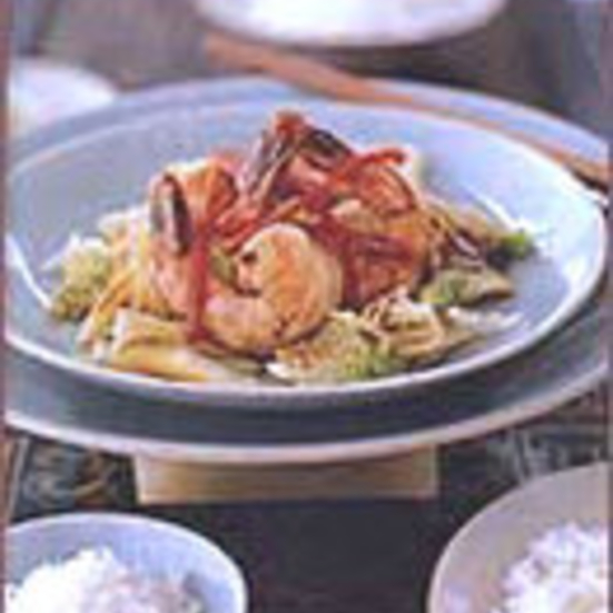 Shrimp Stir-Fried with Napa Cabbage