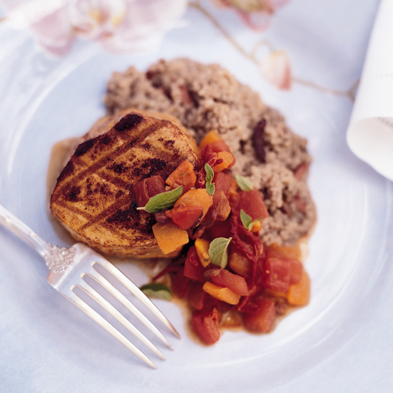 Glazed Grilled Tuna with Sweet Bell Pepper Ragout Recipe - Victor ...