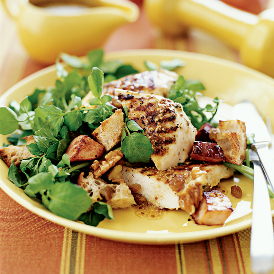 Grilled Chicken and Watercress Salad with Canadian Bacon
