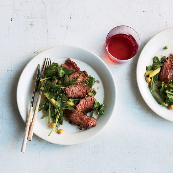 Grilled Hanger Steak with Spring Vegetables and Hazelnuts