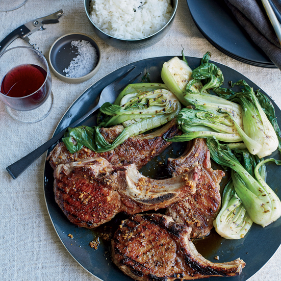 Grilled Pork Chops with Ginger Sauce