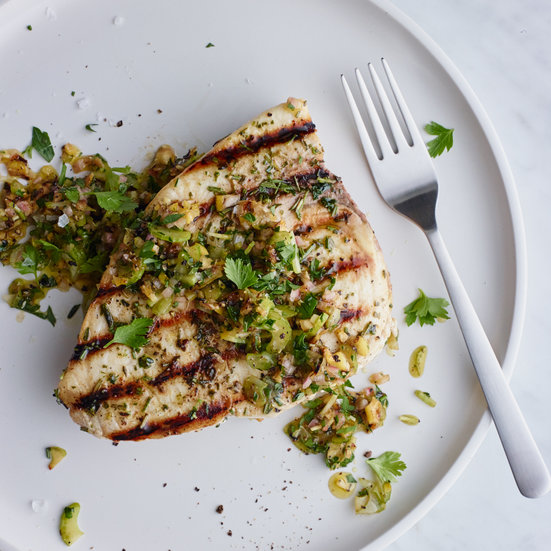 Grilled Swordfish with Herbs and Charred Lemon Salsa