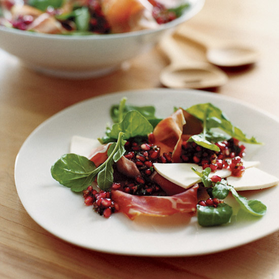 Serrano Ham and Arugula Salad with Pomegranate Salsa