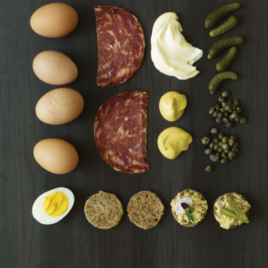 Salami egg canap s recipe kurt gutenbrunner jane sigal for Italian canape ideas