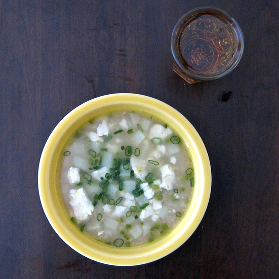 Quinoa Chowder with Feta and Scallions