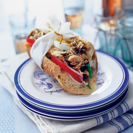 Italian Tuna Salad Sandwiches with Black-Olive Dressing