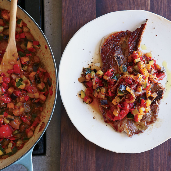 Lamb Shoulder Steaks with Ratatouille