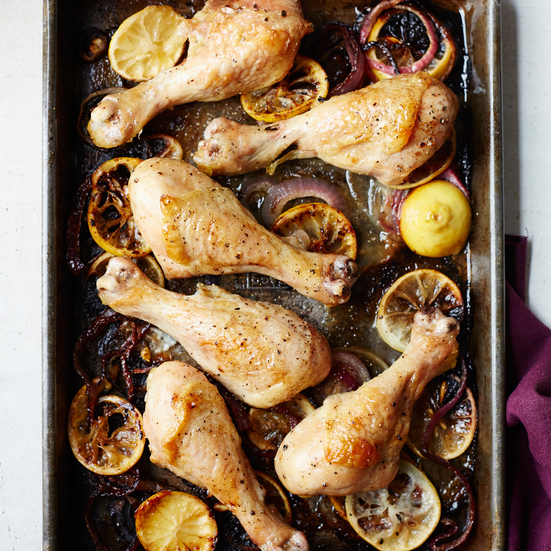 Lemon-Onion Roast Chicken Legs