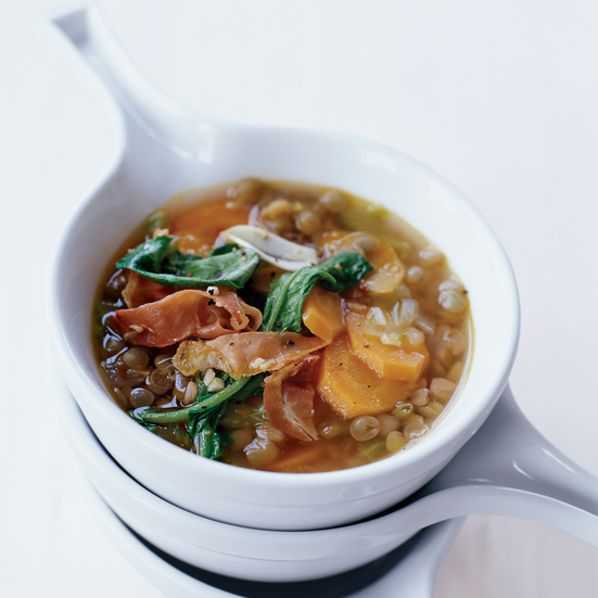 Lentil Soup with Serrano Ham and Arugula