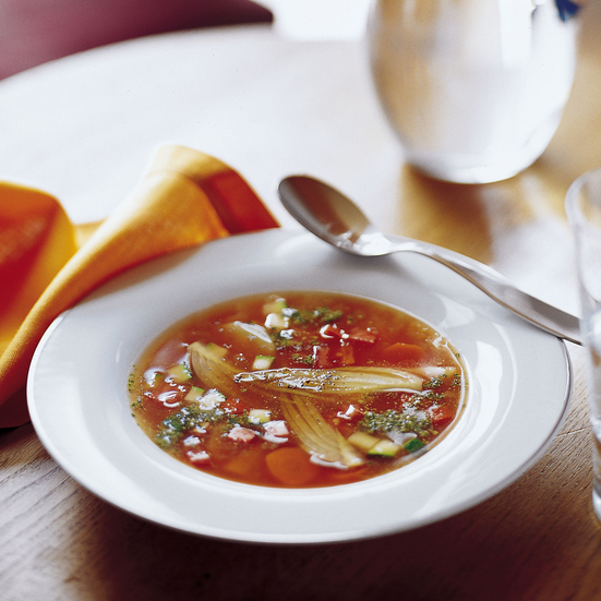 Light Vegetable Soup with Pistachio Pistou
