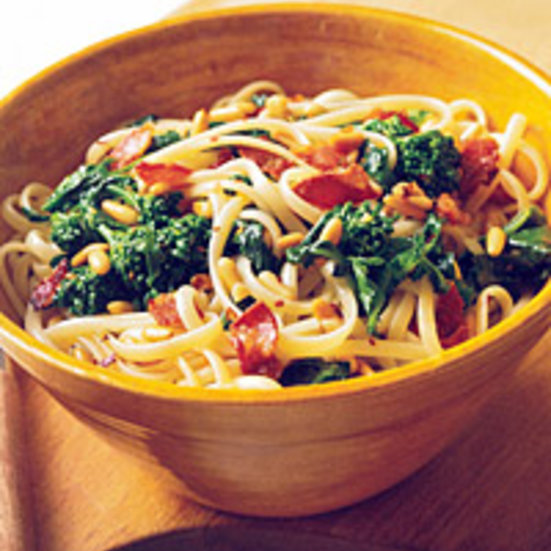 Linguine with Broccoli Rabe, Pancetta, and Pine Nuts