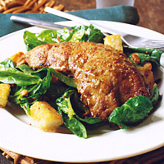 Calf's Liver with Spinach Salad, Croutons, and Pine Nuts