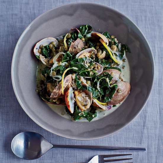 Manila Clams with Lentils and Kale