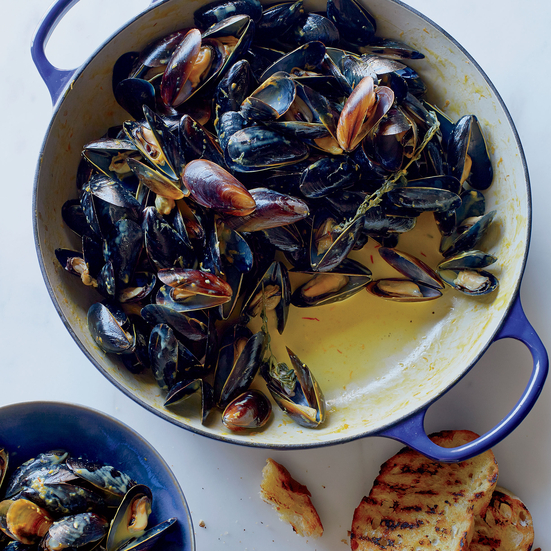 Mussels in a Saffron-Citrus Cream Sauce Recipe | Food & Wine