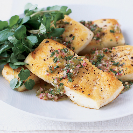 Pan-Roasted Halibut with Jalapeño Vinaigrette