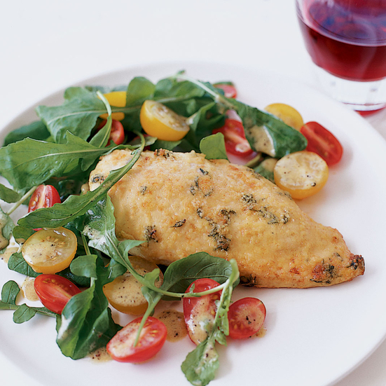 Parmesan-Crusted Chicken with Arugula Salad