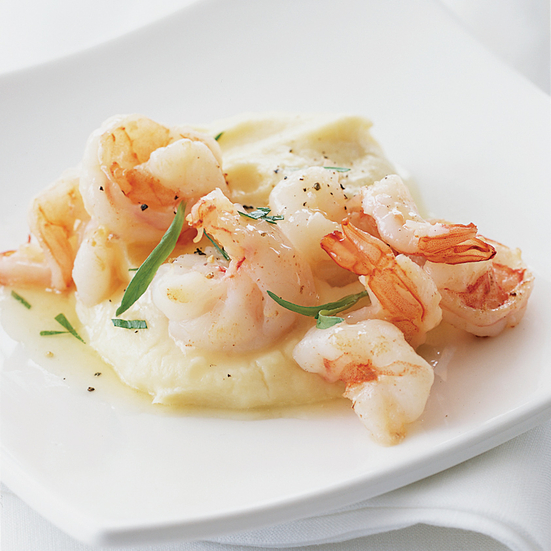 Parsnip Puree with Sautéed Shrimp and Tarragon