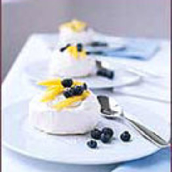 Mango and Blueberry Pavlovas