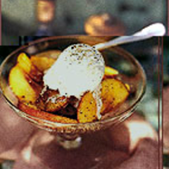 Vanilla Gelato with Peaches in Balsamic Vinegar